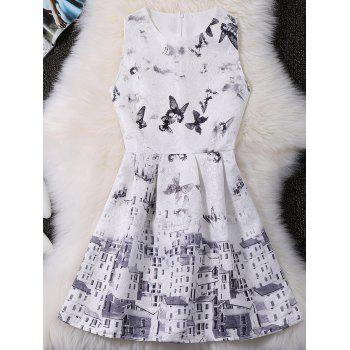 Sleeveless Butterfly Printed Jacquard A Line Dress