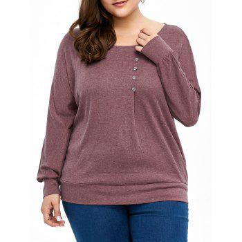 Plus Size Front Button Long Sleeve Tee