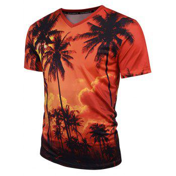 Coconut Palm Print V Neck Tee