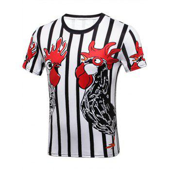 Crew Neck Rooster Printed Striped Tee
