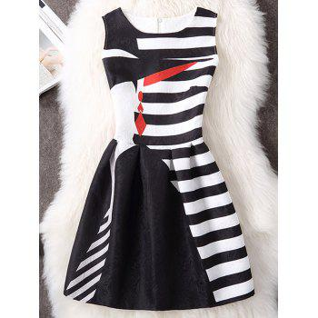 Striped Sleeveless A Line Mini Dress