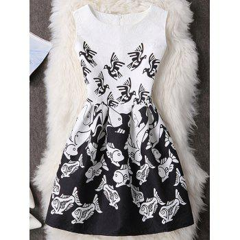 Bird and Fish Print Sleeveless Mini Dress