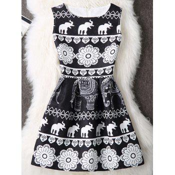 Elephant Print Sleeveless A Line Mini Dress