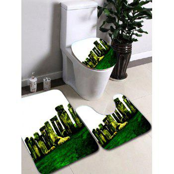 3Pcs Caroset Stonehenge Print Antislip Bathroom Toilet Rug Floor Carpet Set - COLORMIX COLORMIX