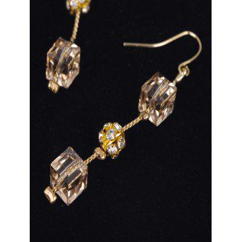 Rhinestone Cube Ball Drop Earrings - GOLDEN
