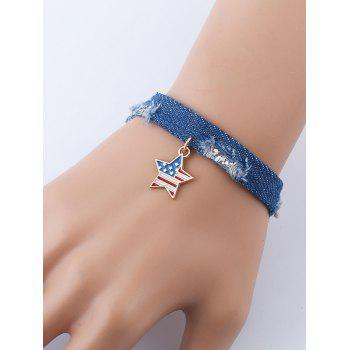 Star American Flag Denim Charm Bracelet