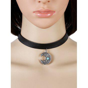 Vintage Artificial Turquoise Moon Choker Necklace