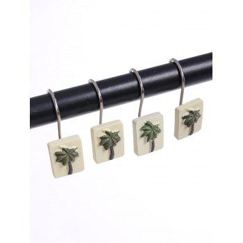12Pcs Bathroom Curtain Hooks Set - YELLOW AND GREEN YELLOW/GREEN