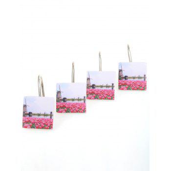Bath Accessories 12Pcs Floral Printed Shower Curtain Hooks -  COLORMIX