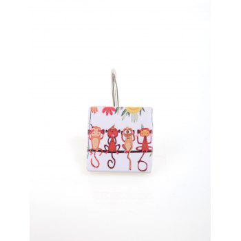 Animals Printed 12Pcs Shower Curtain Hooks -  COLORMIX