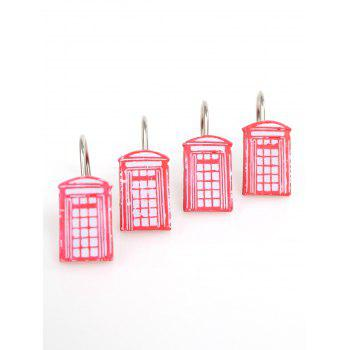 12Pcs Resin Shower Curtain Hooks Set -  RED