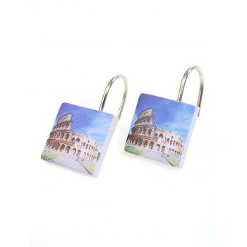 12Pcs Ancient City Printed Shower Curtain Hooks -  BLUE/YELLOW
