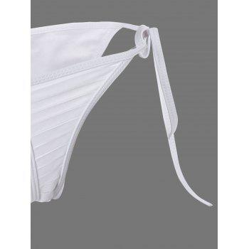 Ripped Tie Side Padded Bikini Set - WHITE S