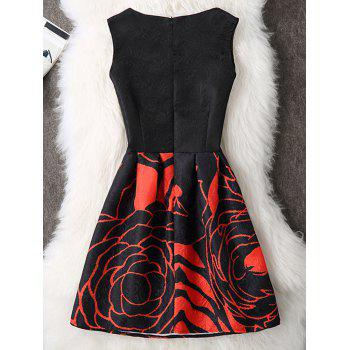Rose Print Sleeveless A Line Dress - BLACK XL