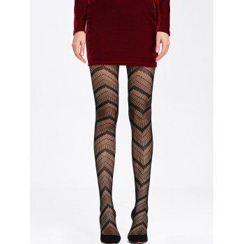 Striped See Thru Tights - BLACK ONE SIZE