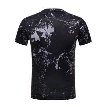 Crew Neck Rooster Paint Print Funny T-shirt - BLACK M