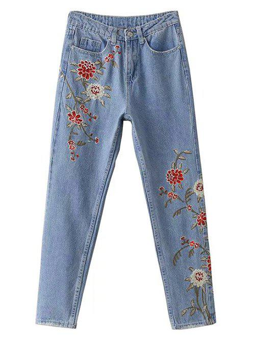 Floral Embroidered Jeans - LIGHT BLUE L