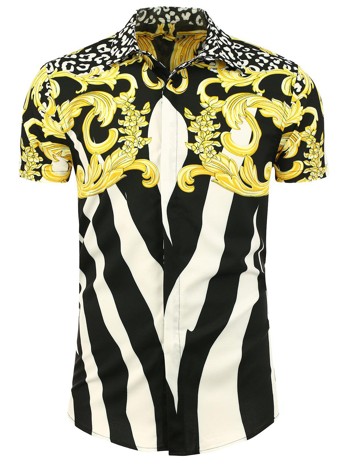 Button Front Printed Short Sleeve Shirt - WHITE / BLACK / YELLOW 3XL