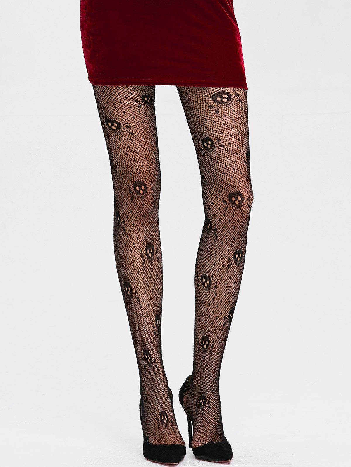 Skulls Graphic See Thru Collants résille - Noir ONE SIZE