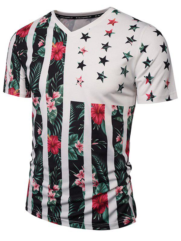 V Neck Floral Pattern Tee - COLORMIX L