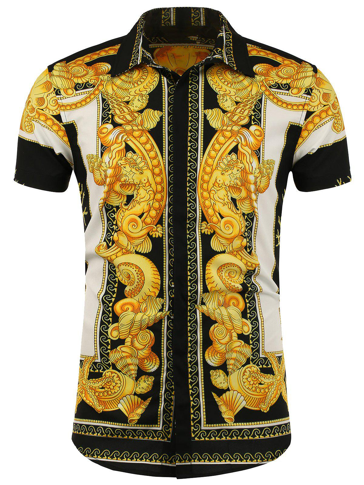 Button Up Patterned Short Sleeve Shirt - WHITE / BLACK / YELLOW XL