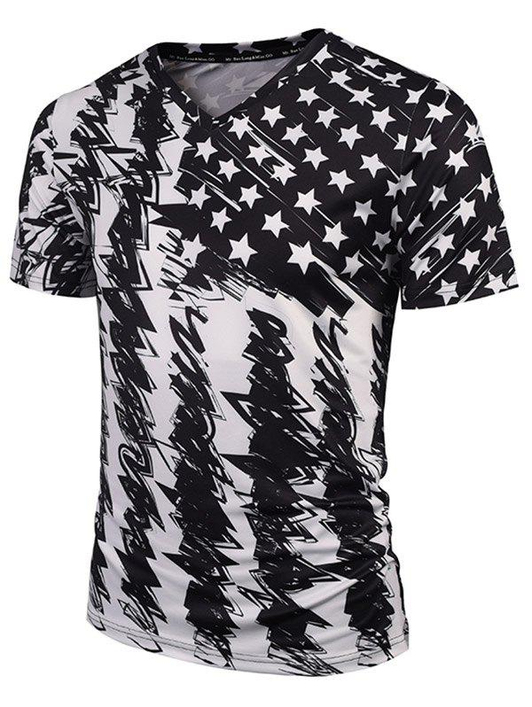 V Neck Star Scrawl Print Tee - WHITE/BLACK XL