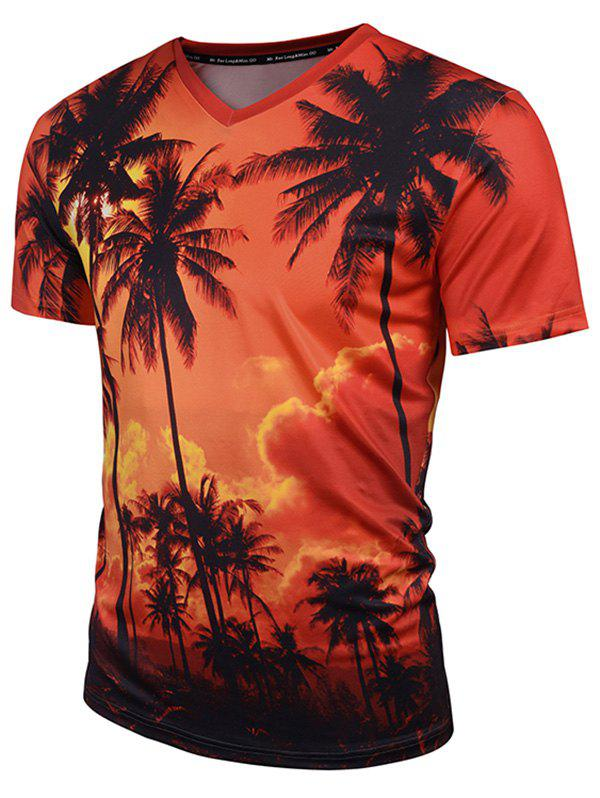 Coconut Palm Print V Neck Tee - ORANGE XL