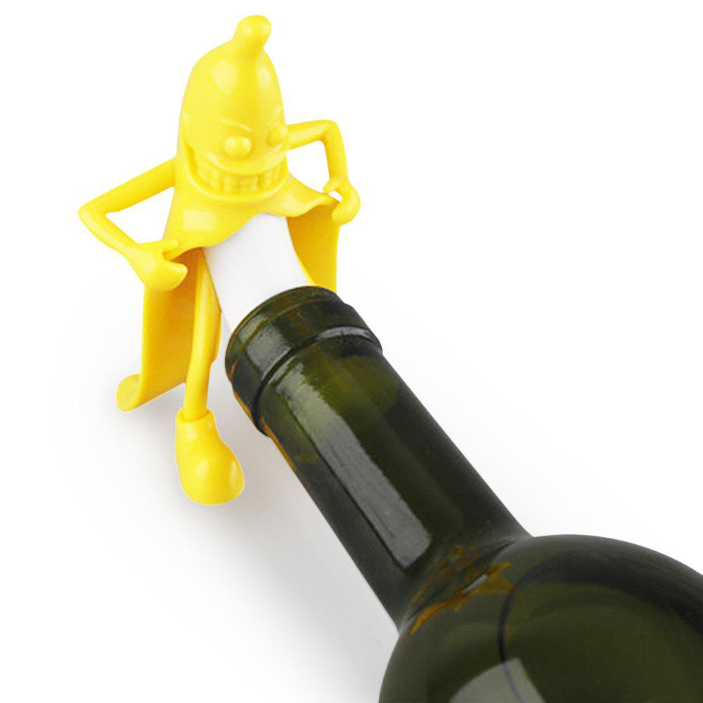 Mr. Banana Cartoon Red Wine Silicone Bottle Stopper - YELLOW