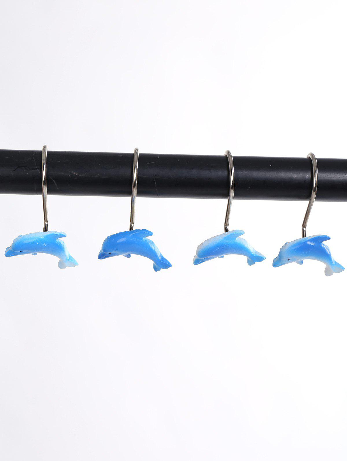 12Pcs/Set Dolphin Shape Shower Curtain Hooks - BLUE