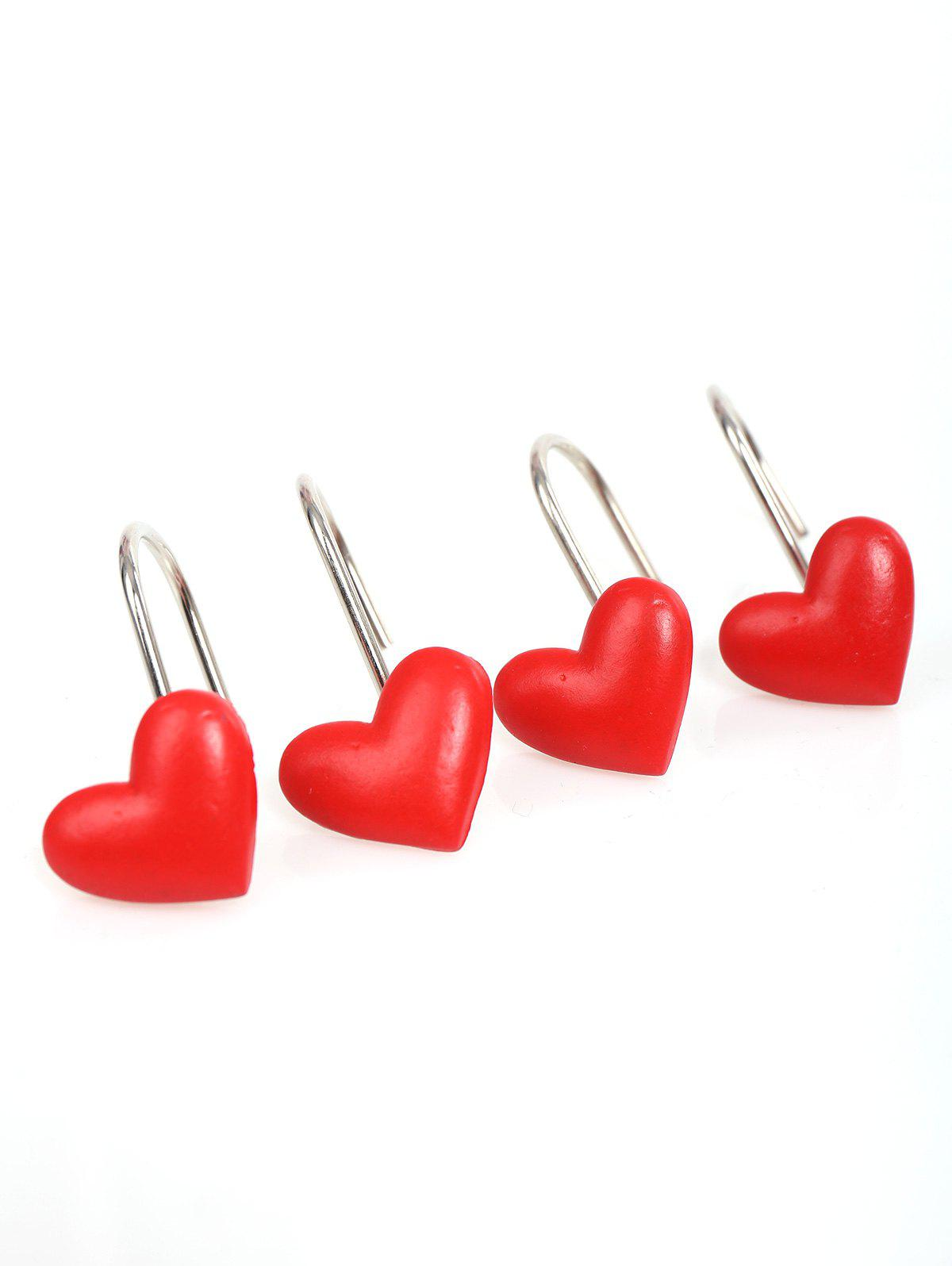 2018 Heart Shape 12 Pcs/Pack Shower Curtain Hooks DEEP RED In ...