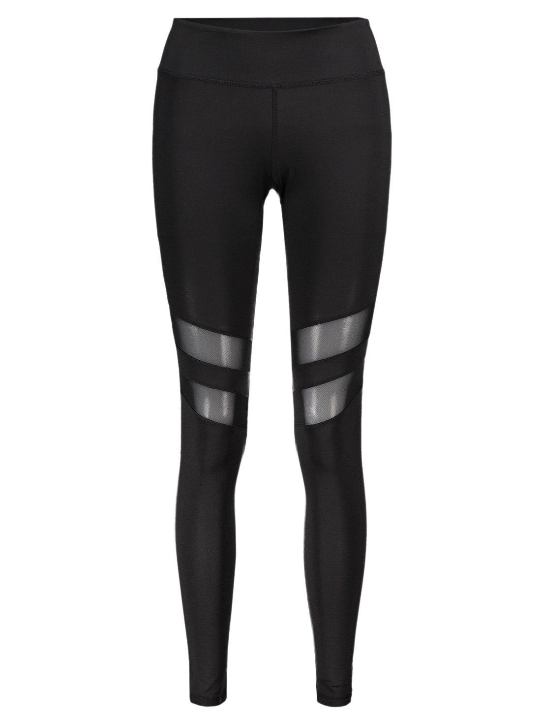 Stretchy Mesh Patchwork Sporty Leggings - BLACK L
