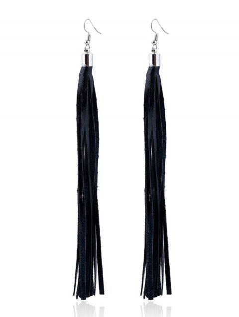 Tassel Faux Leather Drop Earrings - BLACK