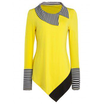 Long Sleeve Striped Hem Asymmetric Long T-Shirt