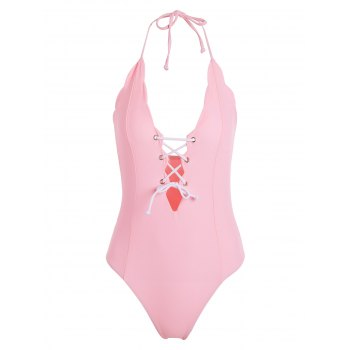 Lace Up Halter One Piece Swimwear