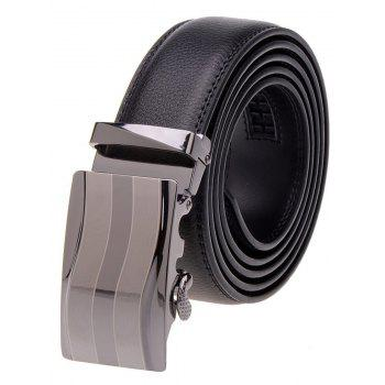 Wavy Stripe Alloy Auto Buckle Leather Belt - BLACK BLACK