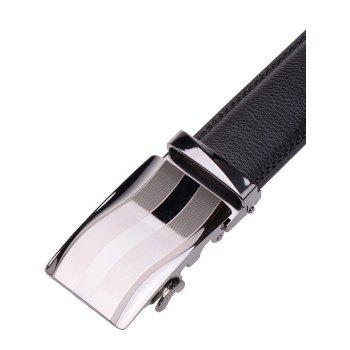 Wavy Stripe Alloy Auto Buckle Leather Belt -  BLACK