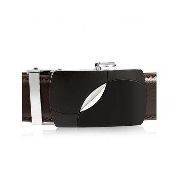 Oval Bulge Alloy Auto Buckle Leather Belt - BROWN