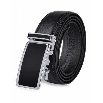 Round Rectangle Insert Auto Buckle Leather Belt