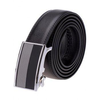 Stripe Panel Alloy Auto Buckle Leather Belt