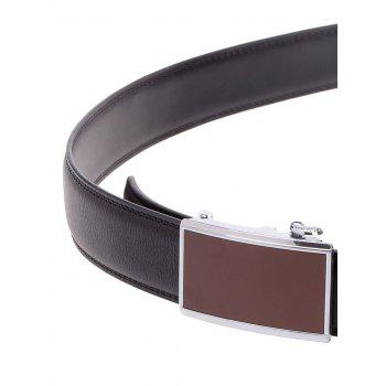 Rectangle Alloy Auto Buckle Leather Belt -  BLACK