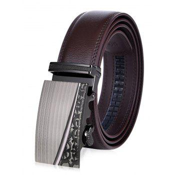 Retro Carve Alloy Auto Buckle Leather Belt - BROWN BROWN