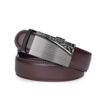 Retro Carve Alloy Auto Buckle Leather Belt - BROWN