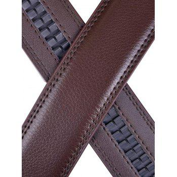Alloy Auto Buckle Leather Belt - BROWN