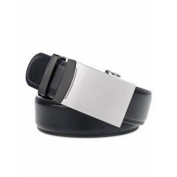 Smooth Alloy Auto Buckle Leather Belt - BLACK
