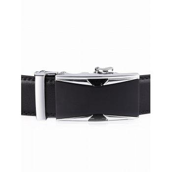 Hollow Out Alloy Auto Buckle Leather Belt - BLACK