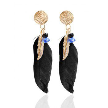 Beads Alloy Feather Drop Earrings