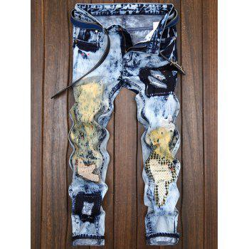 Repaired Color Painted Jeans