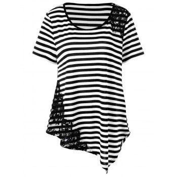 Plus Size Lace Applique Striped T-Shirt