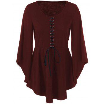 Lace-Up Skirted Top with Bell Sleeve