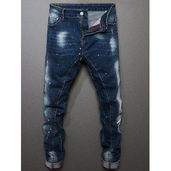 Color Painted Stitching Slim Fit Jeans